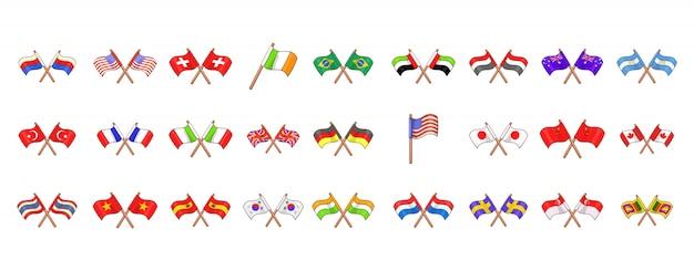 Ensemble d'éléments de drapeau de pays. jeu de dessin animé des éléments de vecteur drapeau pays Vecteur Premium