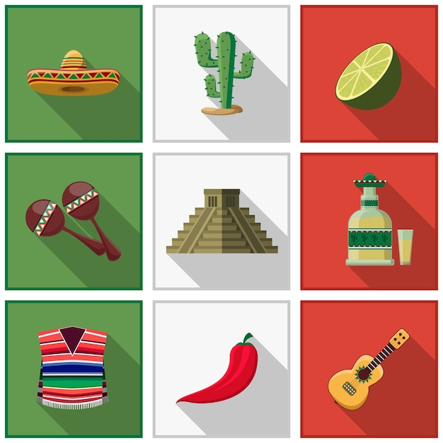 Ensemble D'éléments Du Mexique, Symboles Mexicains. Cactus Et Piment, Tequila Et Guitare Vecteur gratuit