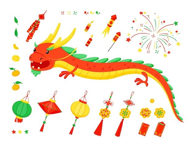 Ensemble D'éléments Du Nouvel An Chinois. Vecteur Premium