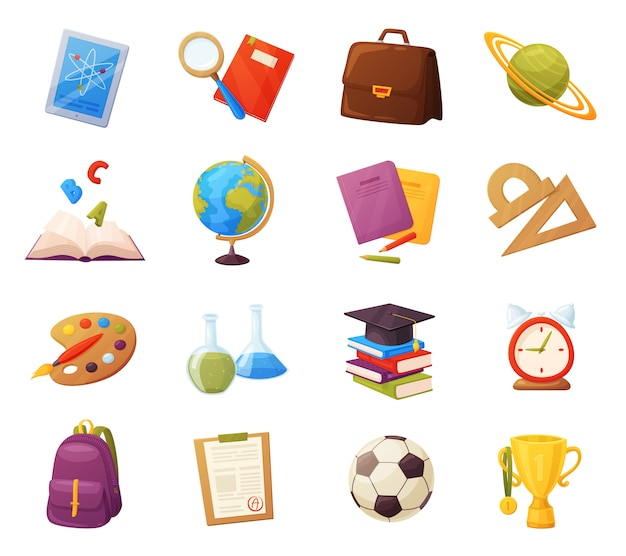 Ensemble d'éléments d'école. les objets et fournitures de bande dessinée comprennent: livres, sac à dos, tablette, loupe, ballon, alarme, règle, porte-documents, flacons, cahier, capuchon, liste des notes, tasse. Vecteur Premium