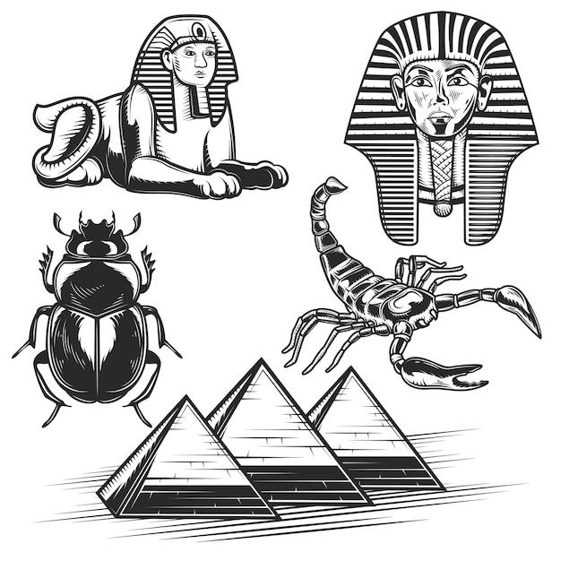 Ensemble D'éléments égyptiens Vecteur gratuit