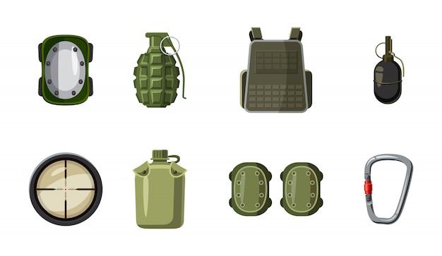 Ensemble d'éléments d'équipement militaire. ensemble de dessin animé de matériel militaire Vecteur Premium