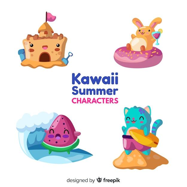 Ensemble d'éléments d'été kawaii Vecteur gratuit