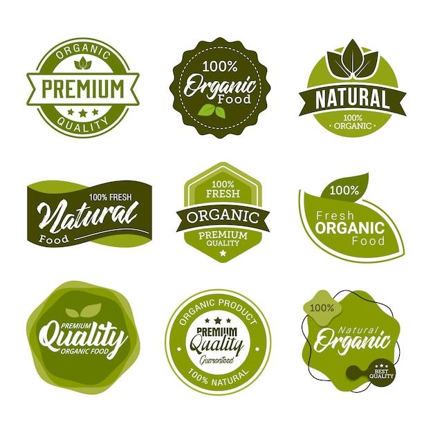 Ensemble d'éléments et étiquettes fraîches de nourriture biologique Vecteur Premium