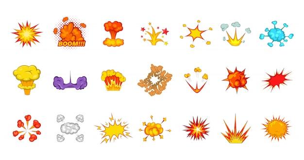 Ensemble d'éléments d'explosion. jeu de dessin animé d'éléments vectoriels d'explosion Vecteur Premium