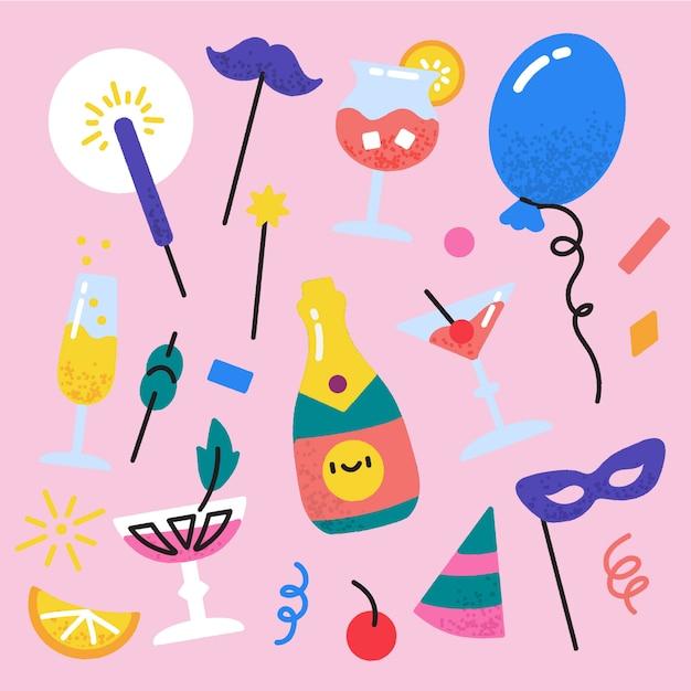 Ensemble d'éléments de fête du nouvel an dessinés à la main Vecteur gratuit