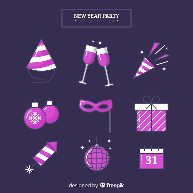 Ensemble d'éléments de fête violet nouvel an 2019 Vecteur gratuit
