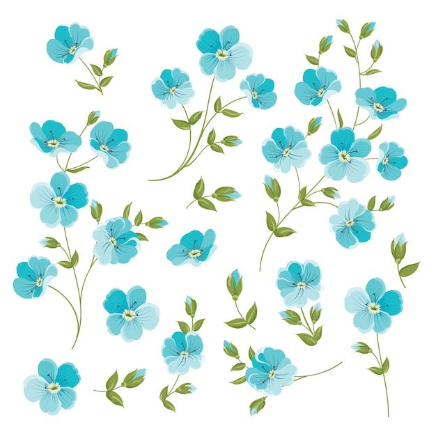 Ensemble d'éléments de fleurs de lin Vecteur Premium