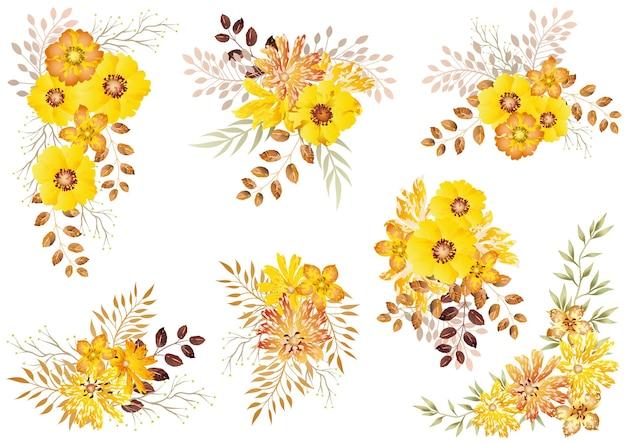 Ensemble D'éléments Floraux Aquarelle Jaune Isolé Sur Un Blanc Vecteur gratuit