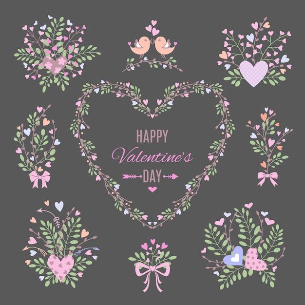 Ensemble d'éléments floraux pour votre valentine Vecteur Premium