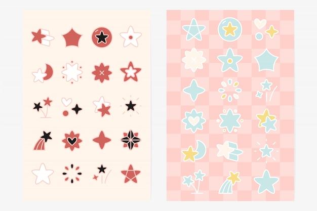 Ensemble d'éléments de forme d'étoile mignon Vecteur gratuit