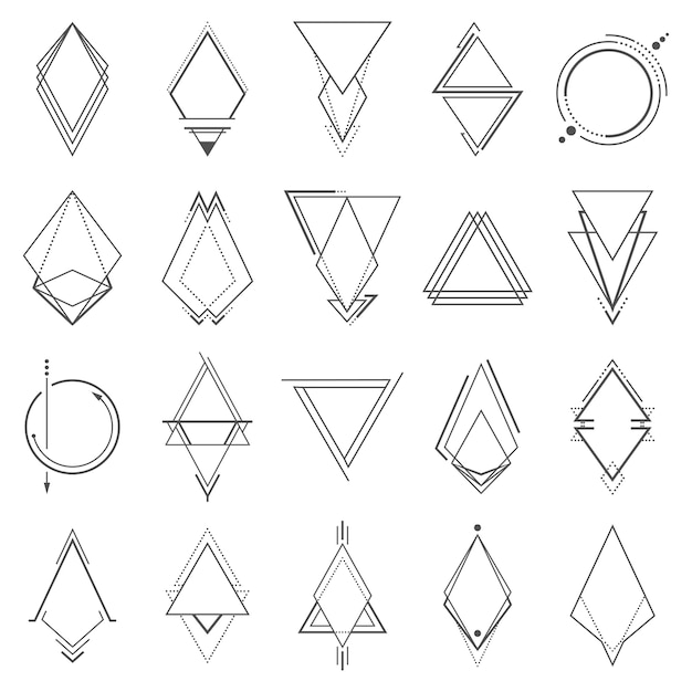 Ensemble d'éléments géométriques minimalistes Vecteur Premium