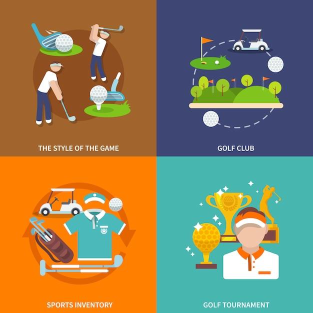 Ensemble d'éléments de golf plats Vecteur gratuit