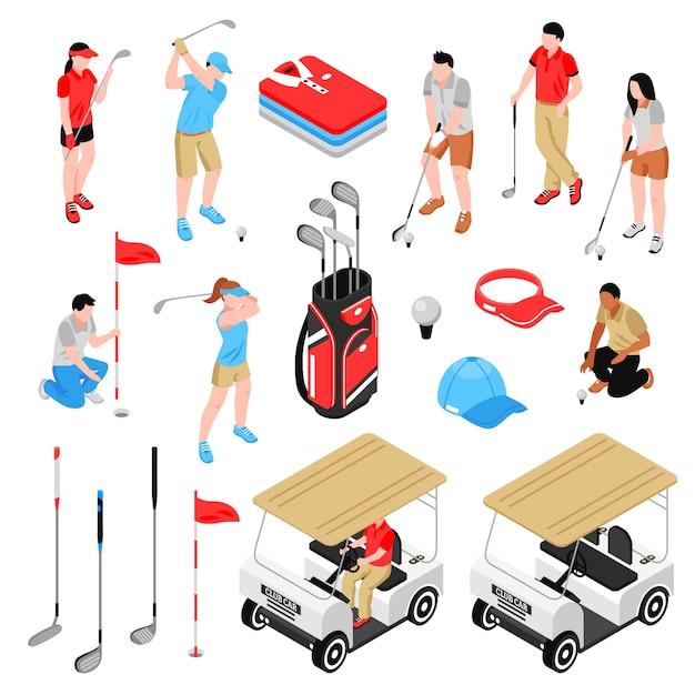 Ensemble d'éléments de golf Vecteur gratuit