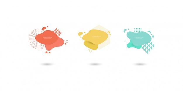Ensemble d'éléments graphiques modernes abstraites, formes colorées dynamiques et ligne. Vecteur Premium