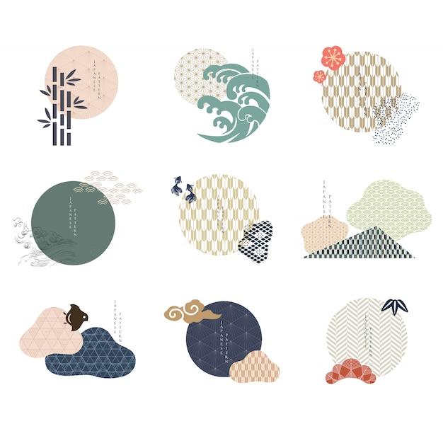 Ensemble D'éléments Graphiques Modernes Géométriques. Icônes Asiatiques Avec Motif Japonais. Vecteur Premium