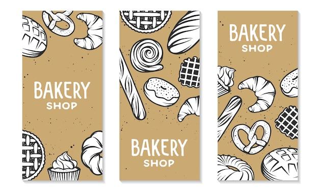 Ensemble d'éléments gravés de boulangerie. typographie design avec pain, pâtisserie, tarte, brioches, bonbons, cupcake. Vecteur Premium