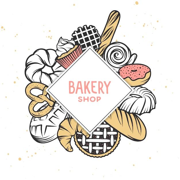 Ensemble d'éléments gravés de boulangerie de vecteur. Vecteur Premium