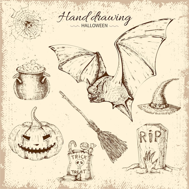Ensemble D'éléments Halloween Dessinés à La Main Vecteur gratuit