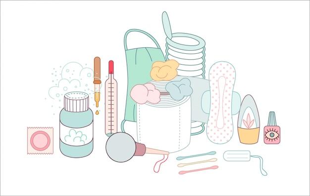 L'ensemble d'éléments d'hygiène regroupés Vecteur Premium
