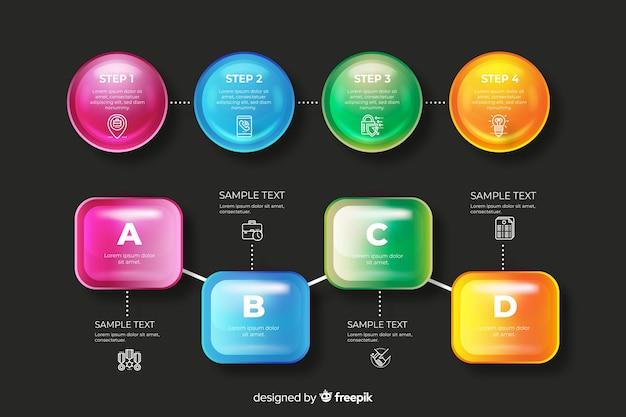 Ensemble d'éléments d'infographie brillant réaliste Vecteur gratuit