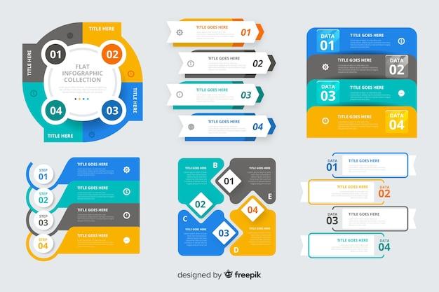 Ensemble d'éléments infographiques plats Vecteur gratuit