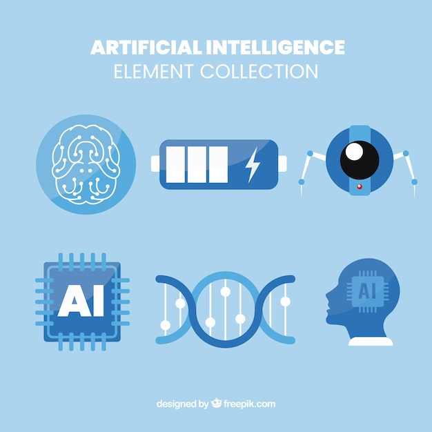 Ensemble D'éléments D'intelligence Artificielle En Design Plat Vecteur gratuit