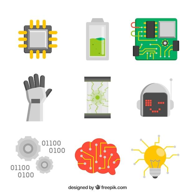 Ensemble D'éléments D'intelligence Artificielle En Design Plat Vecteur gratuit