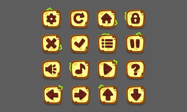 Ensemble d'éléments d'interface utilisateur pour les jeux et les applications 2d, partie 1 de l'interface utilisateur du jeu Vecteur Premium