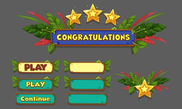 Ensemble d'éléments d'interface utilisateur pour les jeux et les applications 2d, partie 5 de l'interface utilisateur du jeu Vecteur Premium