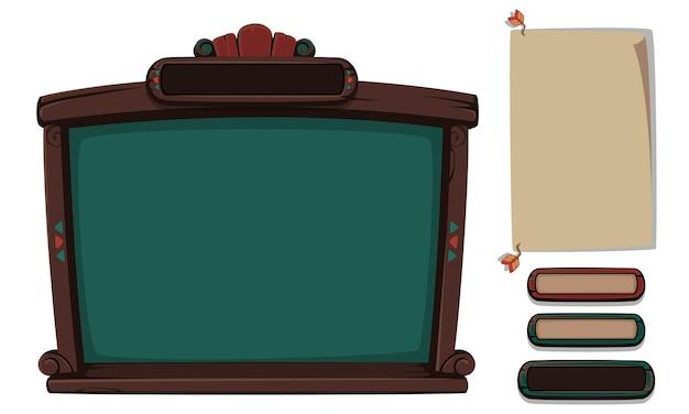 Ensemble d'éléments d'interface utilisateur pour les jeux et les applications 2d - partie 8 Vecteur Premium