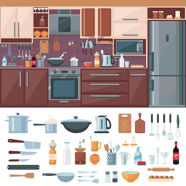 Ensemble D'éléments Intérieurs De Cuisine Vecteur gratuit