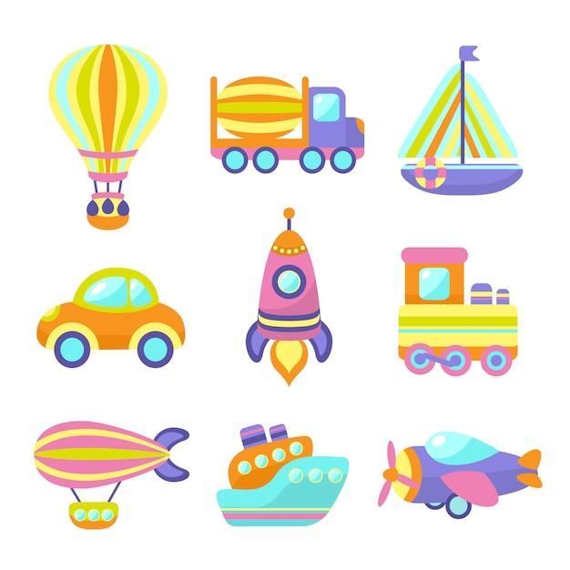 Ensemble d'éléments de jouets de transport Vecteur gratuit