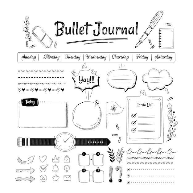 Ensemble D'éléments De Journal De Balle Dessinés à La Main Vecteur gratuit