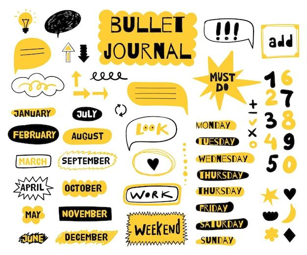 Ensemble D'éléments De Journal De Balle Différents Vecteur gratuit
