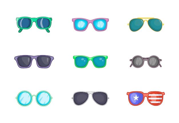 Ensemble d'éléments de lunettes de soleil. ensemble de dessin animé d'éléments de vecteur de lunettes de soleil Vecteur Premium