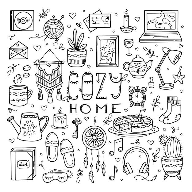 Ensemble D'éléments De Maison Confortable Et Maison Douce Dans Le Style De Dessin à La Main Doodle Vecteur Premium