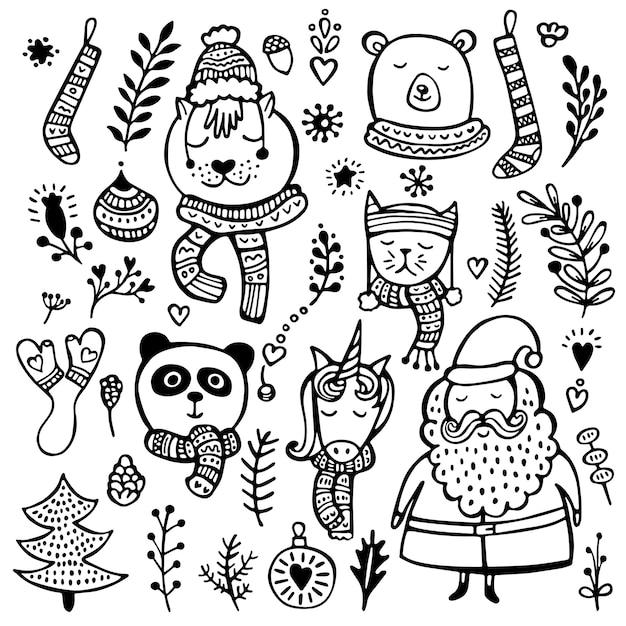 Ensemble D'éléments Mignons De Noël, Du Nouvel An Et De L'hiver Dessinés à La Main, Isolés Sur Fond Blanc Vecteur Premium