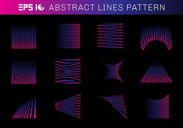 Ensemble d'éléments de modèle de lignes abstraites bleu et rose Vecteur Premium