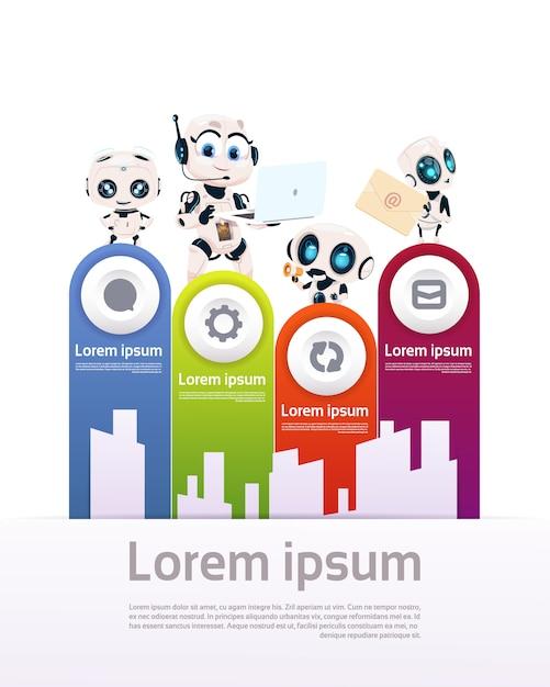 Ensemble d'éléments de modèle de modèle de robots pour le concept d'intelligence artificielle de présentation de la technologie de la robotique moderne Vecteur Premium