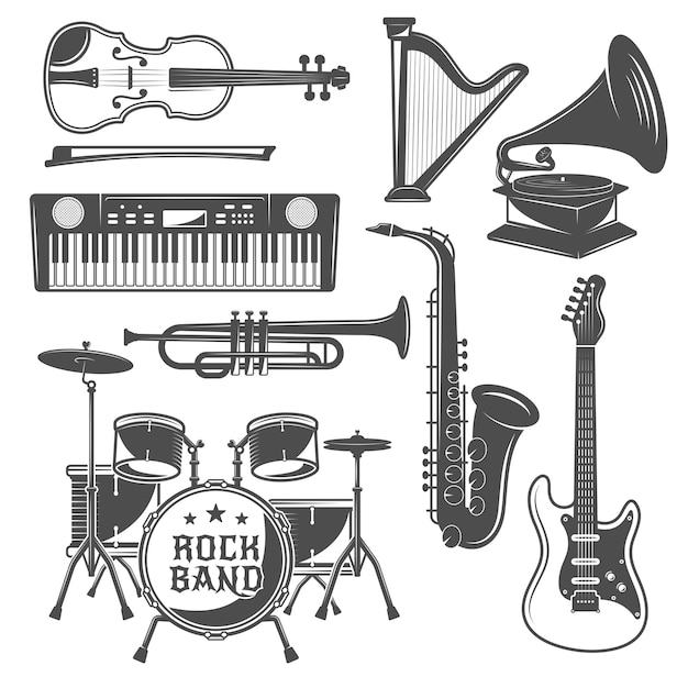 Ensemble D'éléments Monochromes De Musique Vecteur gratuit