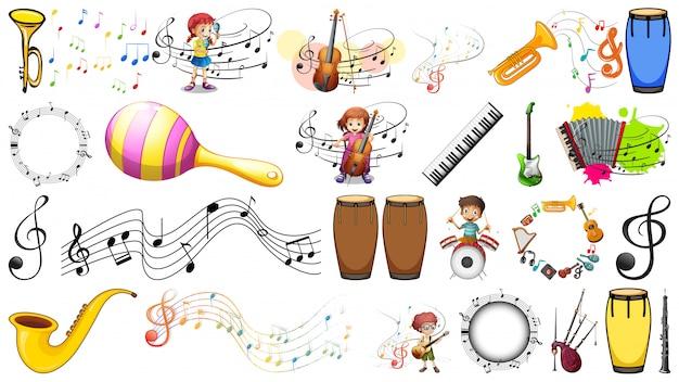 Ensemble d'éléments musicaux Vecteur gratuit