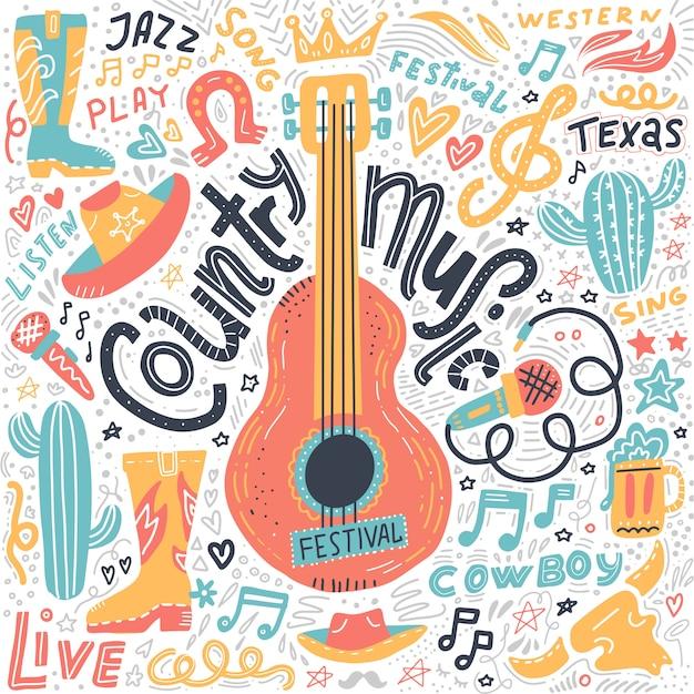 Ensemble D'éléments De Musique Country Pour Les Bannières Du Festival Vecteur Premium