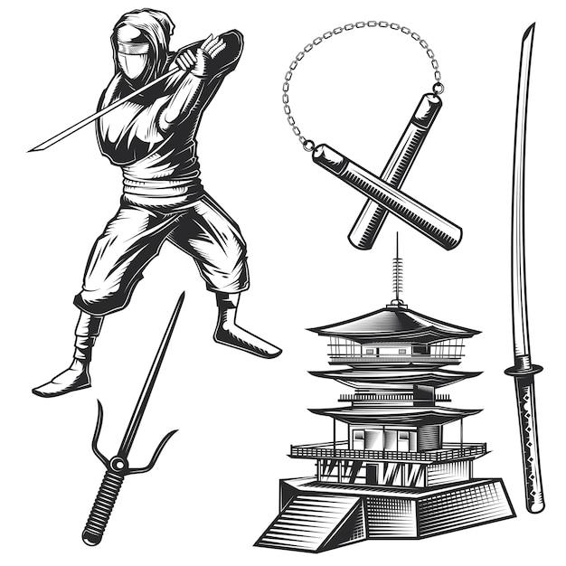 Ensemble D & # 39; éléments Ninja Vecteur gratuit