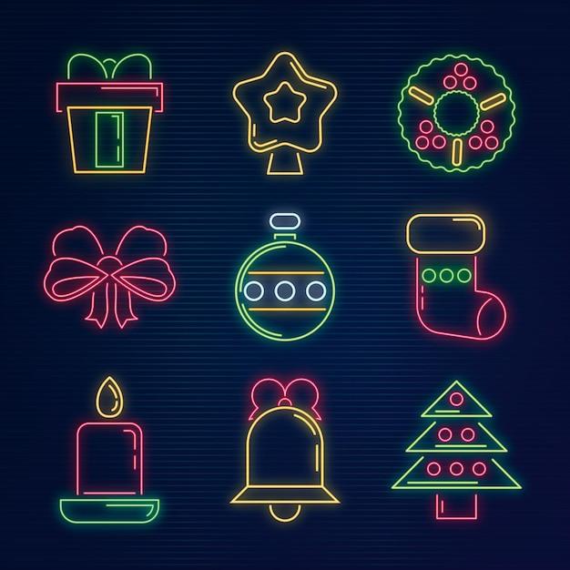 Ensemble D'éléments De Noël Au Néon Vecteur gratuit