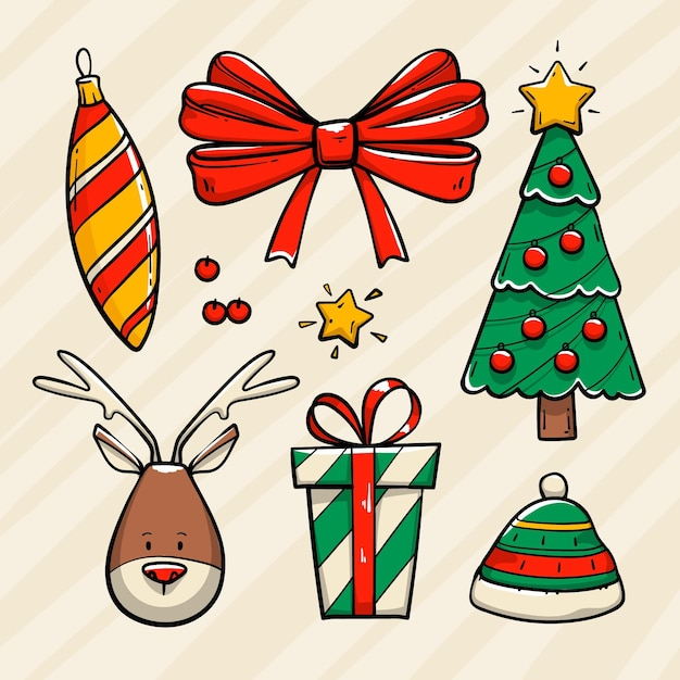 Ensemble D'éléments De Noël Dessinés à La Main Vecteur Premium