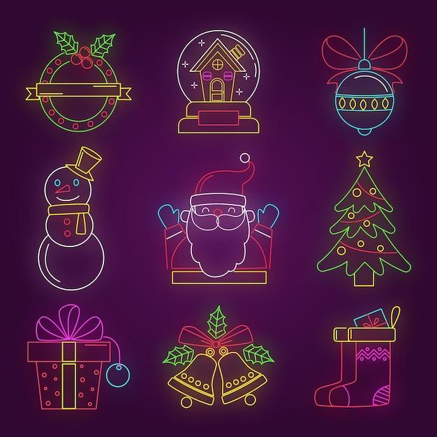 Ensemble D'éléments De Noël Néon Créatif Vecteur gratuit