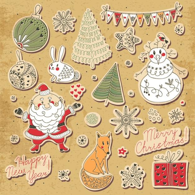 Un ensemble d'éléments de noël pour la conception. père noël, bonhomme de neige, sapin de noël, lièvre, renard, flocons de neige et étoiles Vecteur Premium