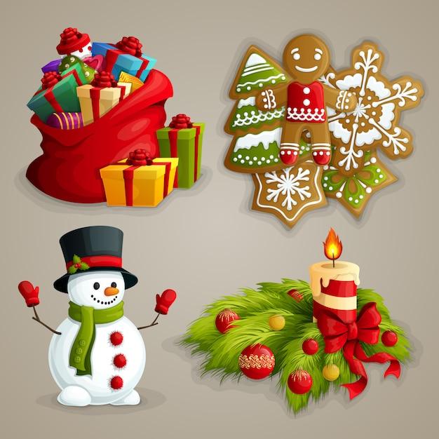 Ensemble D'éléments De Noël Vecteur gratuit