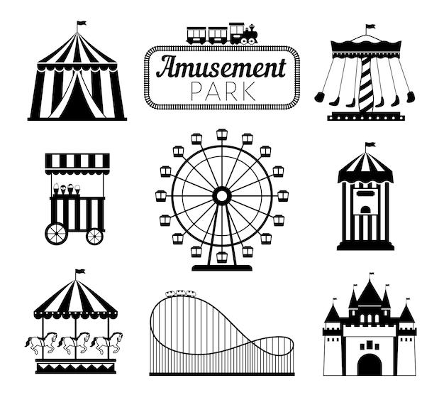 Ensemble D'éléments Noirs De Parc D'attractions Vecteur Premium